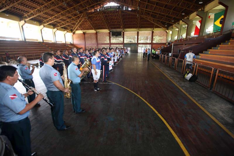 A Banda de Música da Polícia Militar participou da abertura do torneio, executando o Hino Nacional e o Hino do Pará