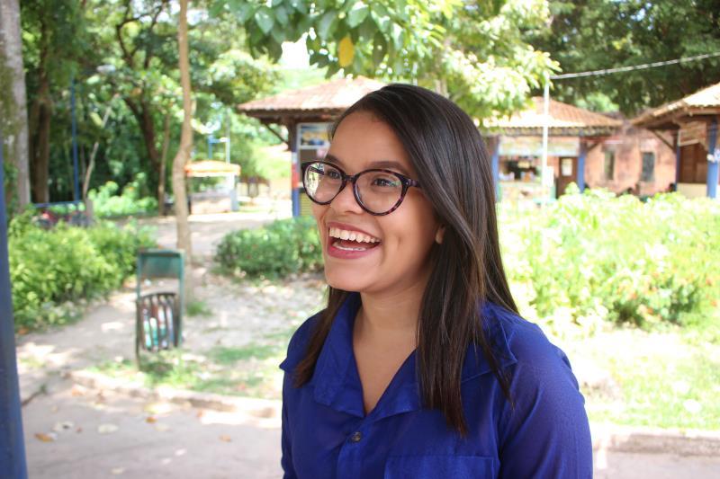 Aluna do curso de Engenharia de Bio Processos, da universidade paraense, Thaissa Ferreira, 19 anos.