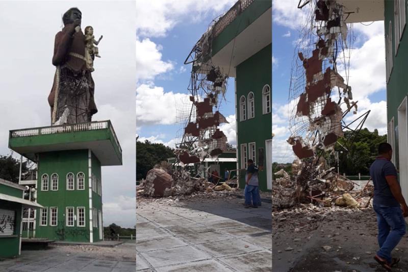 A imagem do padroeiro  reduzida a escombros.