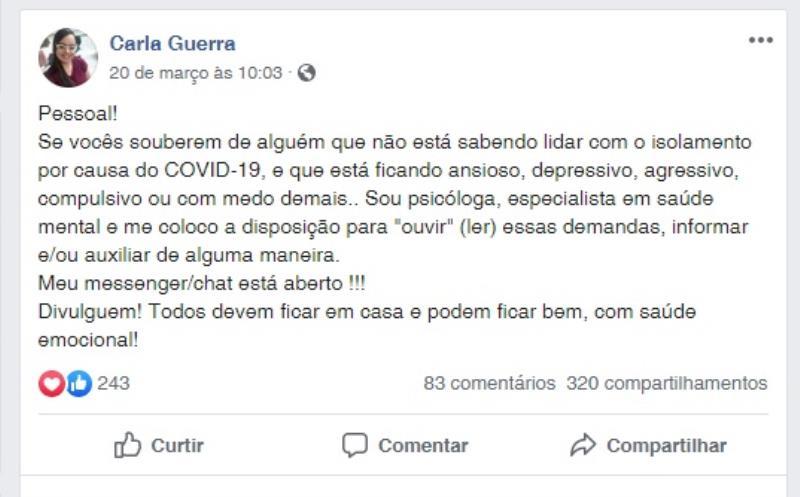 Postagem da psicóloga Carla Guerra no Facebook