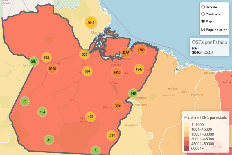 Mapa das Organizações Sociais Civis do Brasil, organizado pelo Instituto de Pesquisas Econômicas Aplicadas (IPEA).