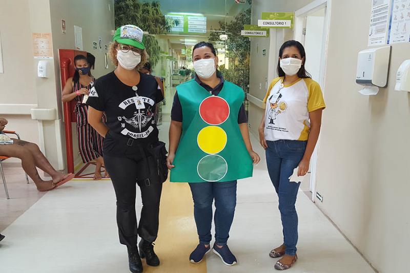 Ação alusiva à campanha Maio Amarelo em 2020. Foto Ascom Pró-Saúde