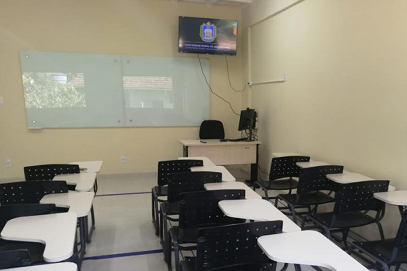 """""""Sala de aula inteligente"""" com equipamentos que possibilitarão ensino híbrido,entre outras possibilidades."""