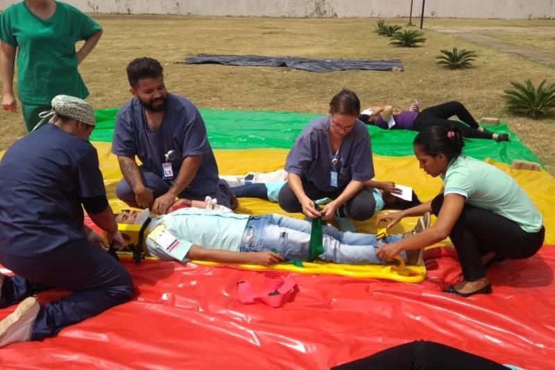 O Hospital Regional Público da Transamazônica (HRPT), localizado em Altamira, promoveu treinamento com foco em múltiplas vítimas para a equipe assistencial de emergência da Unidade.   FOTO: ASCOM HRPT DATA: 04.11.2018 MARABÁ - PARÁ