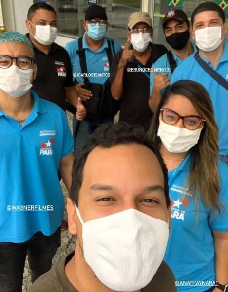 Turma da Secom/ Agência Pará em missão-vacina com o governador, com Thalmus Gama, Ana Thaynara, Bruno Cecim e Brunno Magno