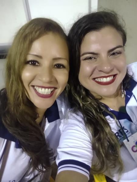 Noely Lima e Natália, da assessoria de comunicação da Sesan