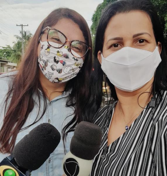 Altamira em ação: Thais Portela e Glici Lima, repórter da TV Mirante, Record Altamira