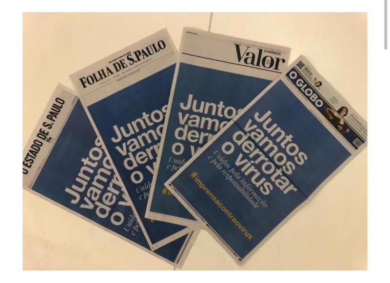 Nesta segunda-feira, 23, dezenas de jornais brasileiros unificam suas capas como forma de apoio ao combate à pandemia de covid-19