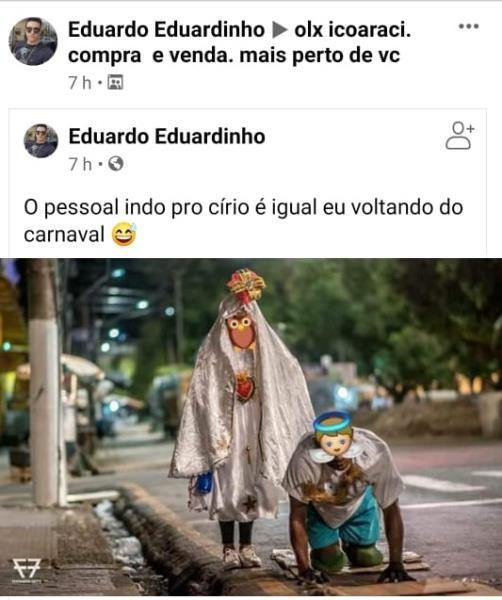 """Postagem de """"Eduardo Eduardinho"""" no perfil dele no Facebook"""
