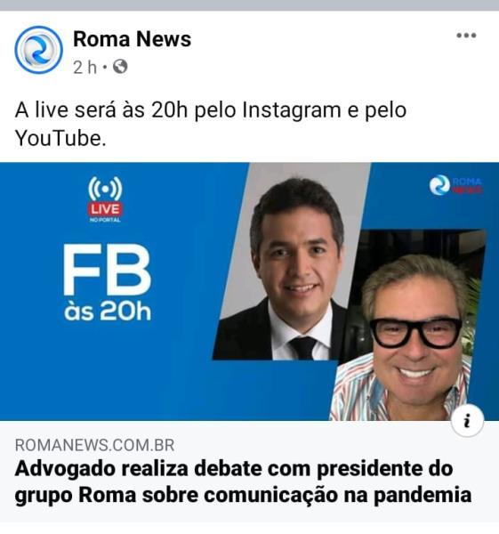 """Enquanto os jornalistas do Roma News fazem milagre para sobreviver sem salário, o dono do portal, Rominho, faz live sobre """"comunicação na pandemia"""""""