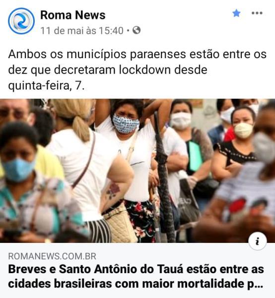 Foto de Raimundo Paccó, não creditada, que está capa do portal Roma News, desde segunda-feira, 11
