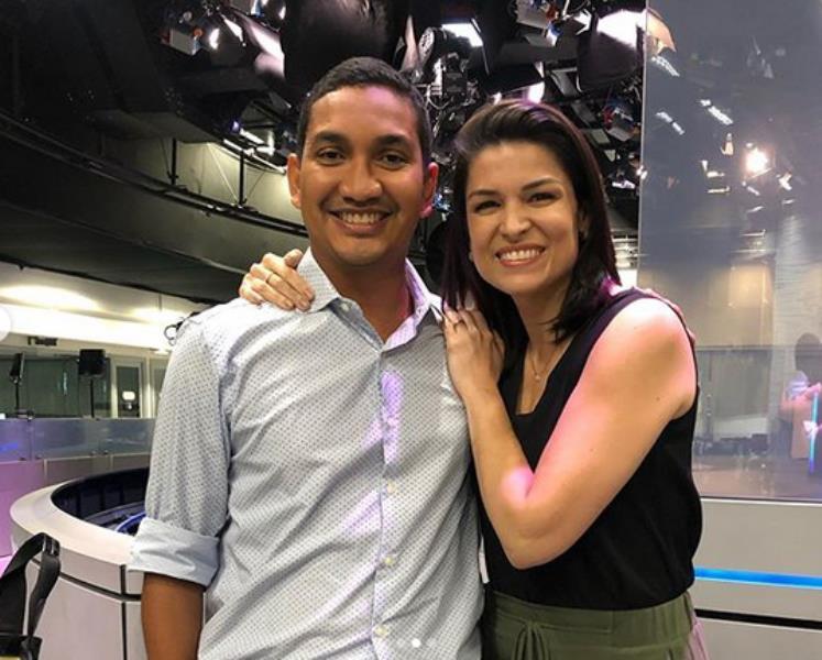 Leonardo Santos, que começou na TV Liberal, e Priscilla Castro na redação do Jornal Nacional, no Rio de Janeiro