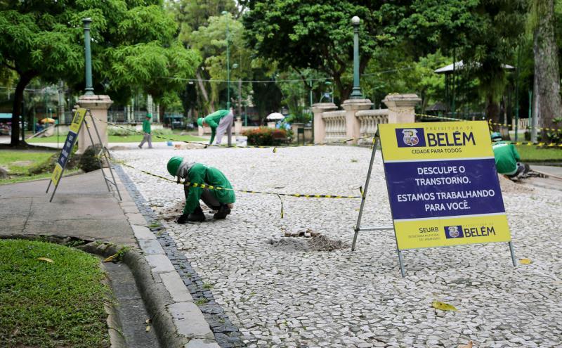 A Seurb iniciou na semana passada os serviços de manutenção para corrigir pontos danificados da calçada, atingindo uma área de cerca de 1500 metros quadrados.