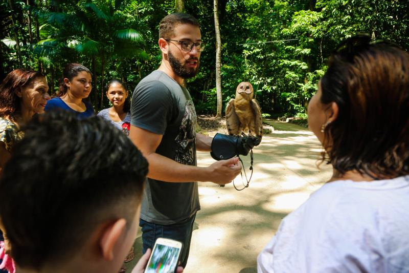 Entre as atividades de educação ambiental, visitantes aprenderam sobre a vida das aves de rapina.