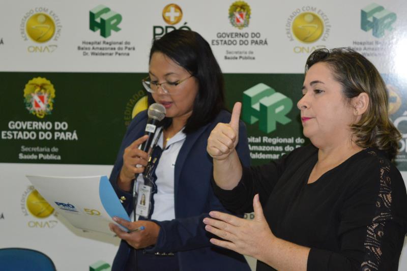 Nesta terça-feira (2), o Hospital Regional do Baixo Amazonas (HRBA), em Santarém (PA), gerenciando pela Pró-Saúde Associação Beneficente de Assistência Social e Hospitalar, realizou a aula inaugural do curso de Língua Brasileira de Sinais (Libras). Mais de 30 colaboradores serão capacitados em duas turmas.  FOTO: DIVULGAÇÃO DATA: 02.04.2019 SANTARÉM - PA