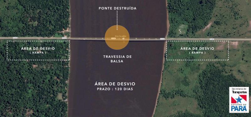 A Secretaria de Estado de Transportes do Pará (Setran) apresentou à imprensa, na noite do domingo (7), o projeto de restauração da ponte Rio Moju, que foi parcialmente destruída durante um choque com uma embarcação no último sábado (6).  O projeto, elaborado pela Setran com a consultoria de dois especialistas, utilizará o sistema de estais - cabos de aço de sustentação - que reduzem número de  pilares e, consequentemente, viabiliza a formação de distâncias maiores entre os pilares, o que facilita a navegação.  FOTO: ASCOM / SETRAN DATA: 08.04.2019 BELÉM - PARÁ