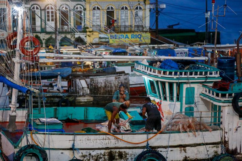 Por dia desembarcam na Pedra do Peixe do Ver-o-Peso 100 toneladas de pescado, essa quantidade chega ainda a aumentar entre 40% a 80% durante a Semana Santa