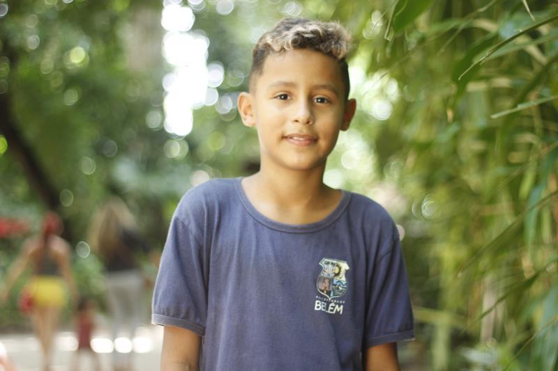 Yago Medeiros, 11 anos, se divertiu bastante na festa.