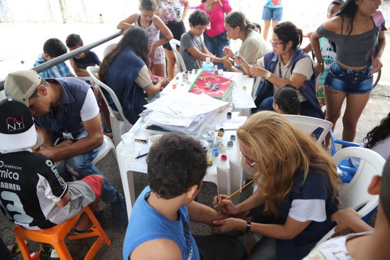 As crianças também foram alvo das ações do Prefeitura no Bairro