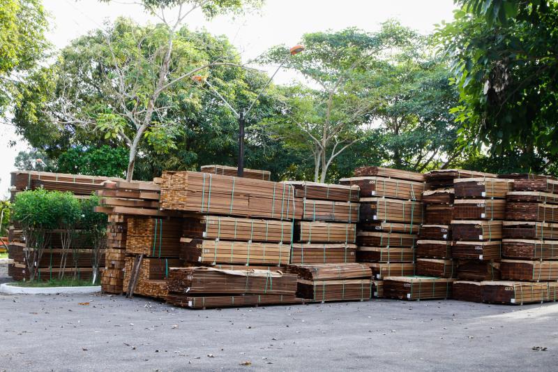 A madeira doada é resultado de apreensão efetuada durante a operação Floresta Florida, do Ibama, que combate o desmatamento na Amazônia