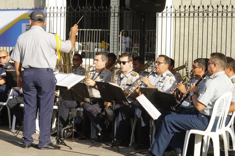 A Banda da Guarda Municipal de Belém executou temas musicais na abertura da programação
