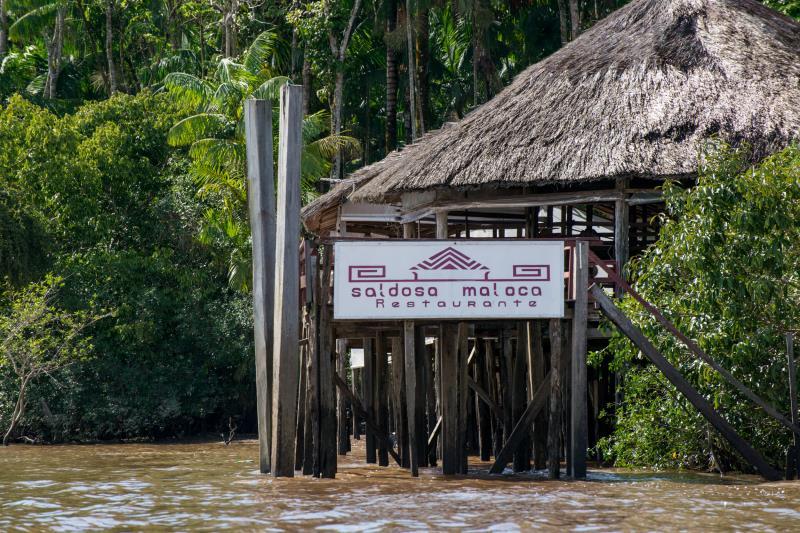 O restaurante Saldosa Maloca é uma das opções de restaurante da Ilha do Combu.