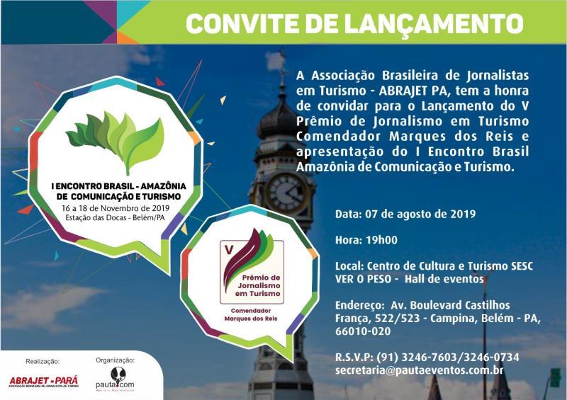 """Convite do V Prêmio de Jornalismo em Turismo """"Comendador Marques dos Reis"""""""