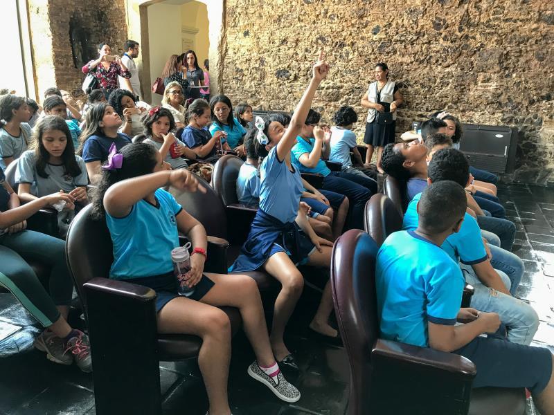 A alegria e diversão foram constantes durante as visitas que os alunos fizeram