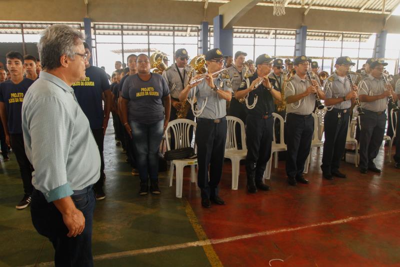 A cerimônia de abertura da edição Sacramenta do Prefeitura no Bairro teve apresentação da Banda da Guarda Municipal de Belém