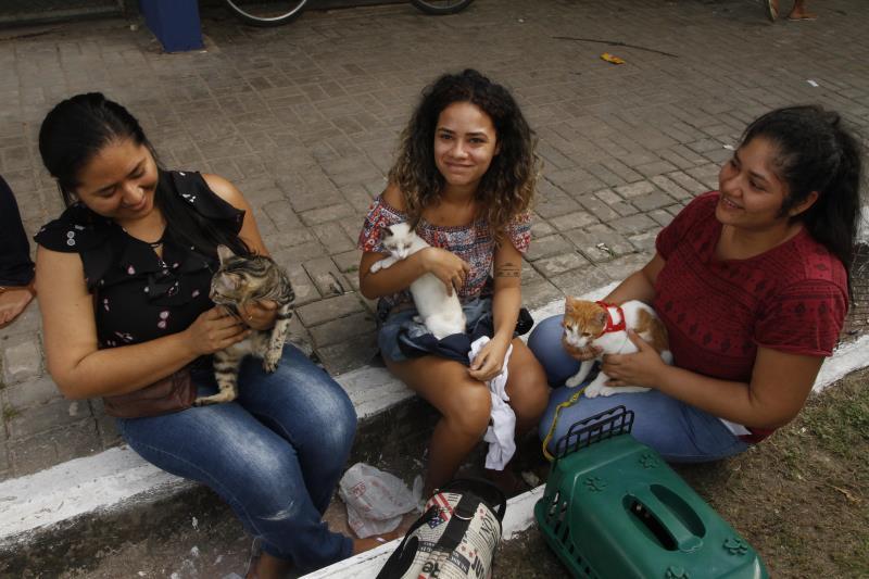 Cristiane Alves (à esquerda), estava com a prima Larissa e a irmã Sabrina e levaram os gatos de estimação para atendimento no Prefeitura no Bairro