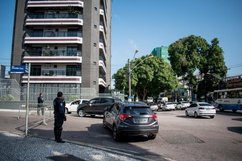 O bloqueio das ruas no centro de Belém foi coordenado por agentes da SeMOB