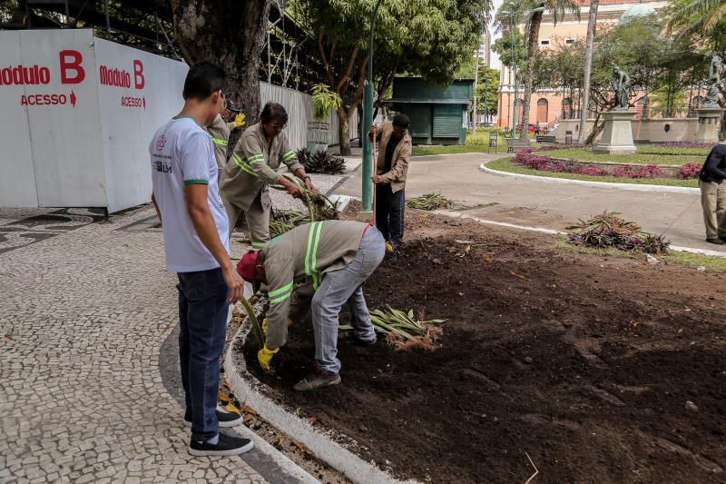 A manutenção e recuperação dos jardins e espaços verdes pela cidade vão continuar durante as próximas semanas nas praças da República, Sereia, dos Estivadores, praça do Relógio, Dom Pedro II e Frei Caetano Brandão