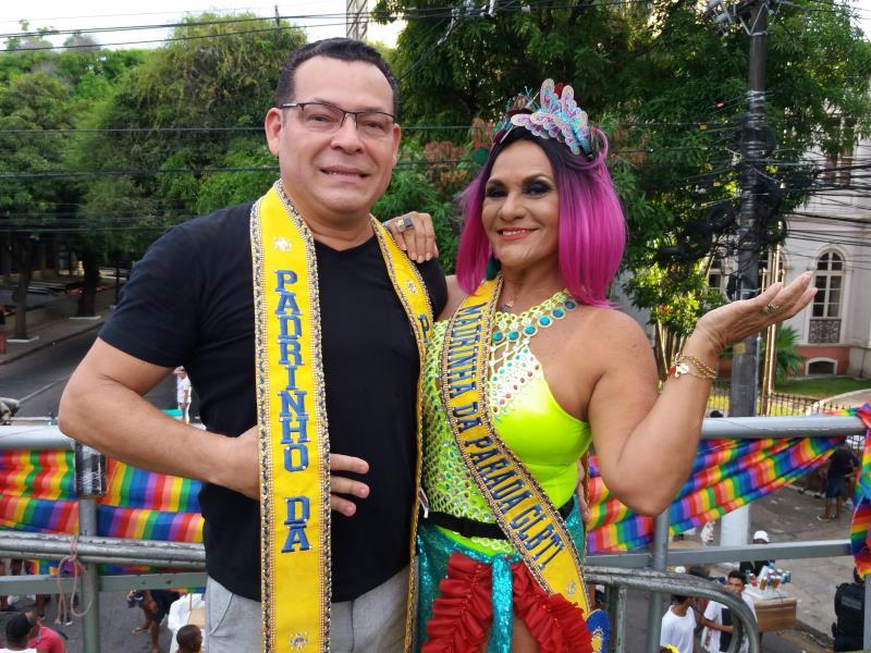Mauro Freitas, presidente da Câmara Municipal de Belém, e a jornalista Célia Pinho foram os padrinhos da 18ª Parada do Orgulho LGBTI de Belém