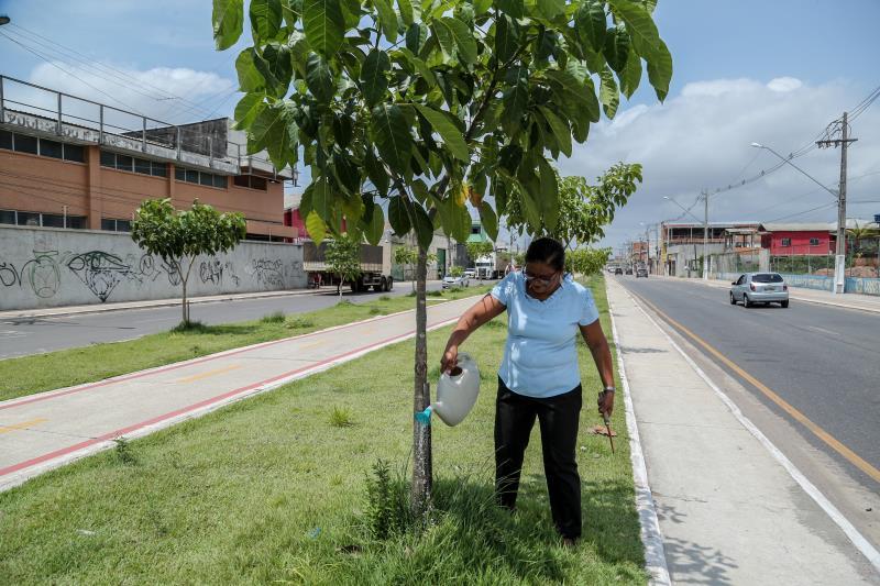 A professora Nazaré Barbosa é uma das moradoras que foram escolhidas para ser 'madrinha' dos pés de ipês