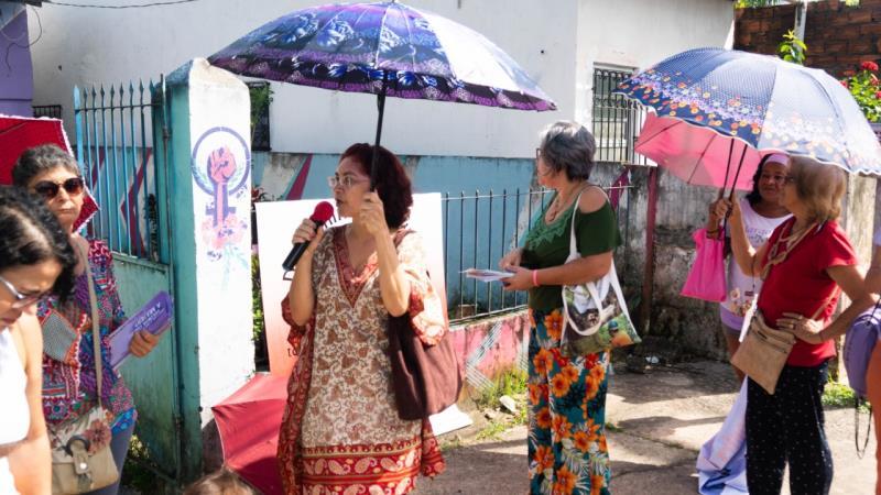A mobilização contou com a presença de lideranças da comunidade, apresentações de danças, performances teatrais.