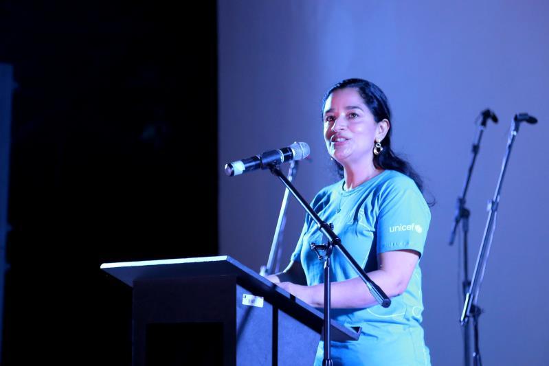 """A coordenadora do Unicef na Amazônia, Anyoli Sanabria Lopez, destacou: """"Estamos comemorando o marco dos 30 anos da convecção de direitos e não tem melhor forma de celebrar, que fazendo coisas concretas como esse espaço"""""""