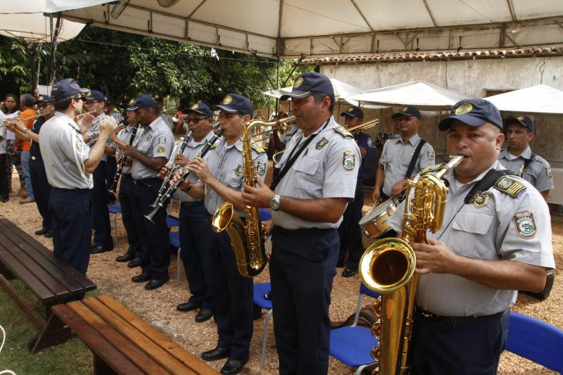 A Banda da Guarda Municipal abriu a solenidade de inauguração da Escola Criativa da Gastronomia de Belém