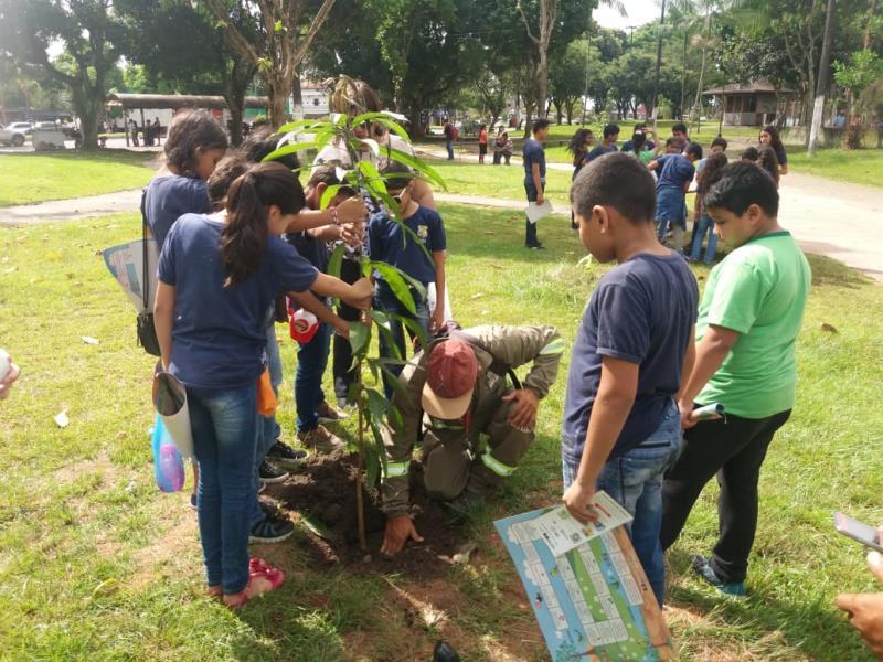 A Semma tem parceria com outras secretarias municipais, como com a Secretaria de Educação (Semec), durante a Semana do Meio Ambiente