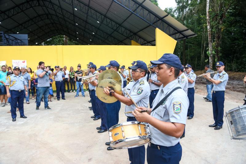 A Banda da Guarda Municipal de Belém se apresentou, antes da série de inaugurações na Escola Bosque