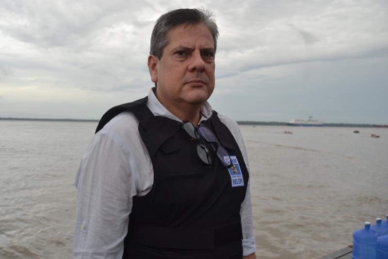 """""""Estamos com 15 agentes de transporte da Superintendência Executiva de Mobilidade Urbana de Belém, durante o período de desembarque e embarque dos turistas"""" disse  Karim Zaidan"""
