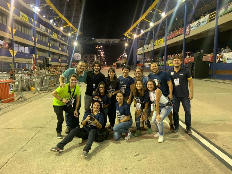 Equipe da Comus/Agência Belém, que trabalhou na cobertura do Carnaval Oficial de Belém, e o coordenador da Comus, Mário Azevedo