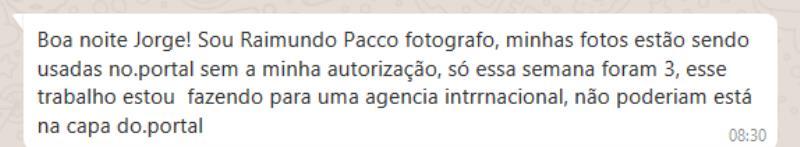 Cobrança que Paccó fez ao gerente do portal Roma News sobre o uso indevido de foto de autoria do fotógrafo