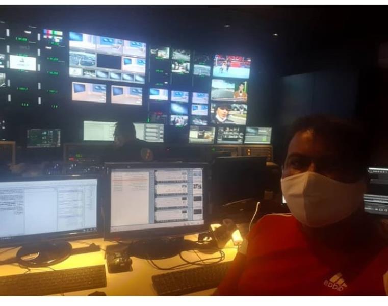 Na ilha de edição, e de máscara, nosso colega Antenor Filho, da TV Liberal