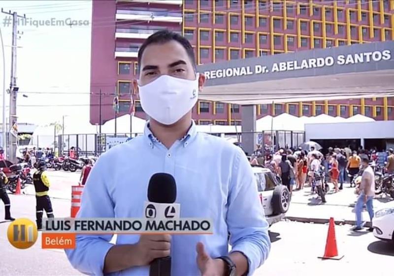 Luiz Fernando Machado, da TV Liberal, em uma entrada, ao vivo, no Jornal Hoje, da Rede Globo