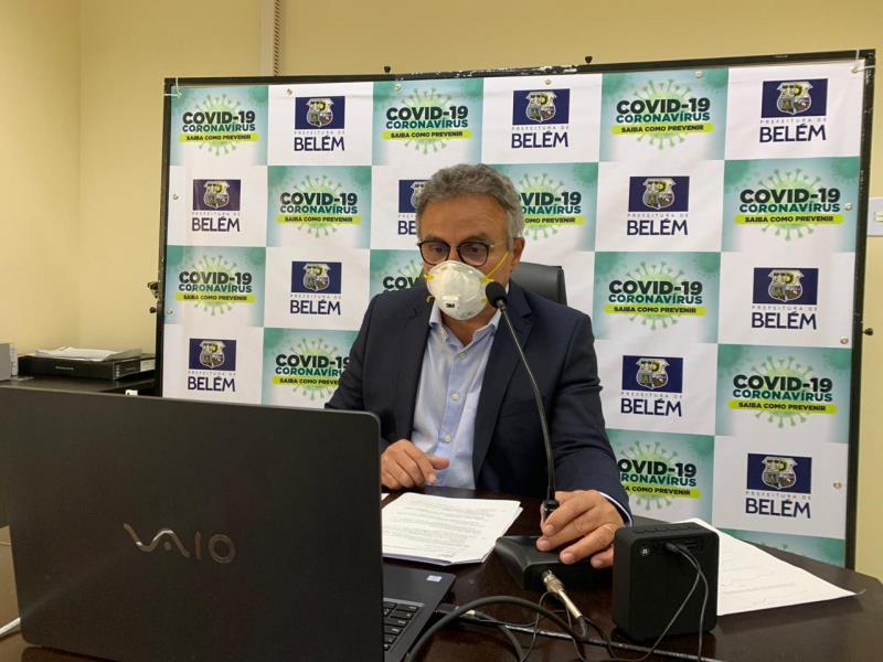 As medidas de prevenção e enfrentamento à Covid-19 foram tema de uma teleconferência em que o prefeito de Belém participou.