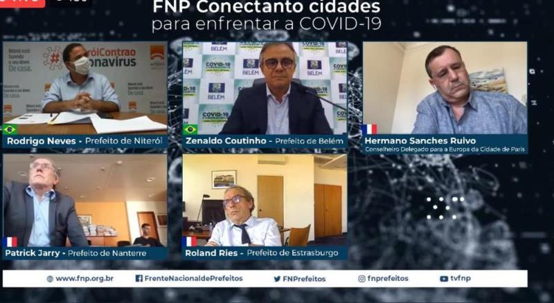 Prefeito Zenaldo debate enfrentamento à pandemia em reunião virtual com prefeitos franceses.