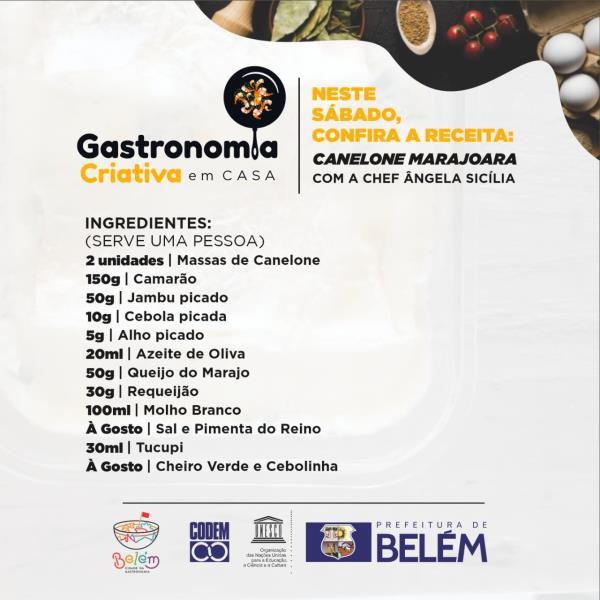 Programação será divulgada toda semana através das redes sociais da Prefeitura de Belém.
