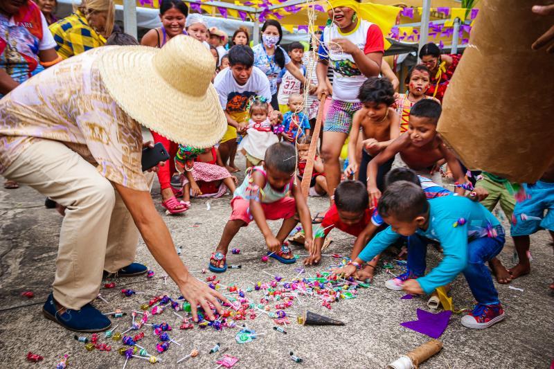 Funpapa promove atividade cultural para indígenas Warao no abrigo do Tapanã.