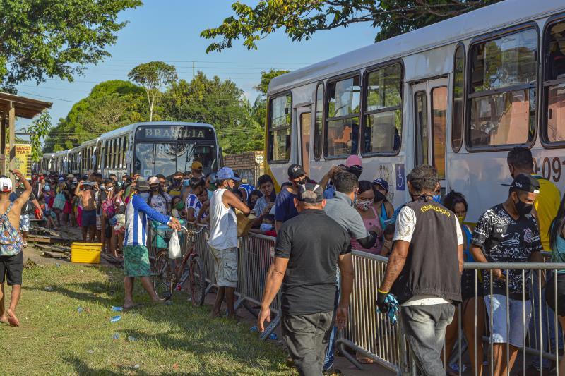 A fiscalização redobrou a atenção na fila de retorno para Belém.