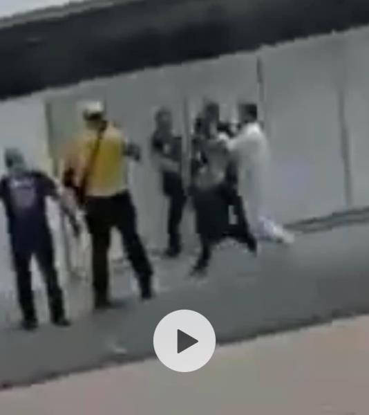 Momento da agressão do diretor da Festa de Nazaré a Filipe Bispo Vale